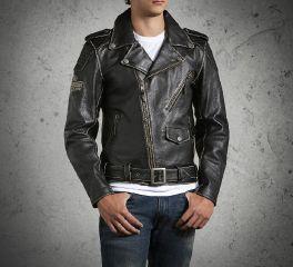 Men's Vintage Leather Biker Jacket 98063-13VM