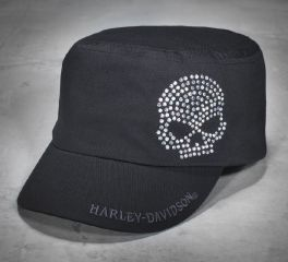 Women's Crystal Skull Flat Top Cap