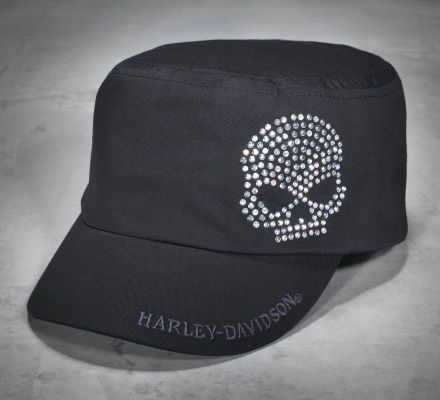 Women's Crystal Skull Flat Top Cap, Harley-Davidson® 99402-11VW