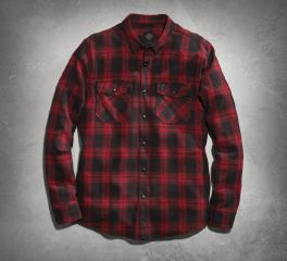 Men's Red Plaid Flannel Shirt 99023-16VM