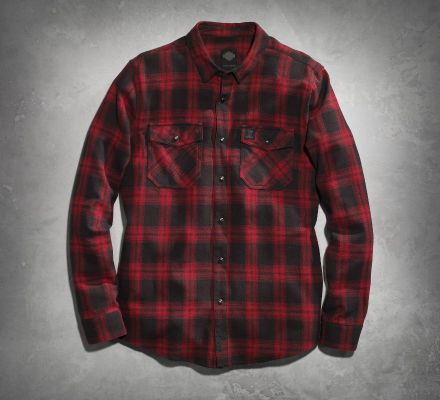 Harley-Davidson® Men's Red Plaid Flannel Shirt 99023-16VM