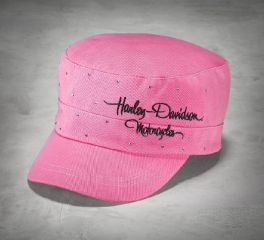Harley-Davidson® Women's Pink Label Crystal Flat Top Cap 99544-16VW