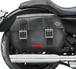 Harley-Davidson® Black Distressed Leather Saddlebags 90201306