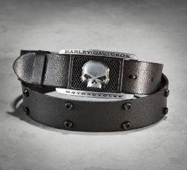 Harley-Davidson® Men's Crackle Belt with Skull Buckle 97658-16VM