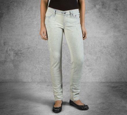 Harley-Davidson® Women's Skinny Splatter Mid-Rise Jeans 96375-16VW