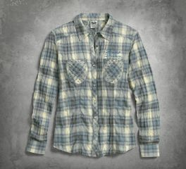 Harley-Davidson® Women's Studded Pocket Plaid Shirt 96009-17VW