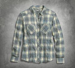 Women's Studded Pocket Plaid Shirt