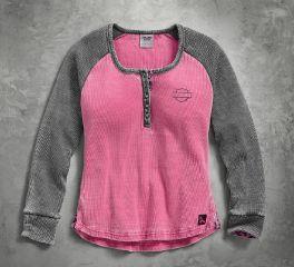 Harley-Davidson® Women's Pink Label Waffle Knit Henley 99145-17VW