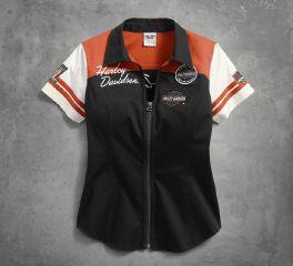Harley-Davidson® Women's Classic Colorblock Zip-Front Shirt 99170-17VW