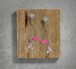 Harley-Davidson® Women's Pink Label Charm Drop Earrings 99564-17VW