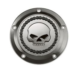 Skull & Chain Derby Cover- Smokey Chrome