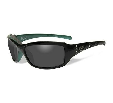 Harley-Davidson® HD Tori Smoke Grey in Gloss Black/Green with Stones Frame Sunglasses, Wiley X EMEA LLC HATOR01