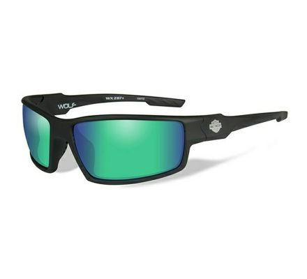 Harley-Davidson® HD Wolf Green Mirror in Matte Black Frame Sunglasses, Wiley X EMEA LLC HAWOL10