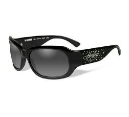 HD Niki Grey Fade in Gloss Black Frame with Stones Sunglasses