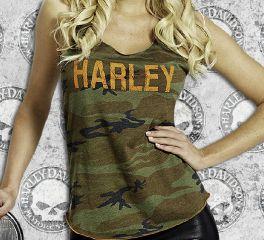 Women's Frayed Camo Tank Top Vest Tee, RK Stratman Inc. R002018