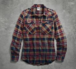 Harley-Davidson® Women's Dip-Dyed Plaid Shirt 96044-17VW