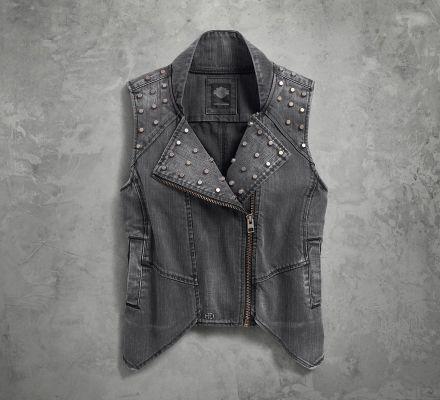 Harley-Davidson® Women's Studded Denim Biker Vest 96126-17VW