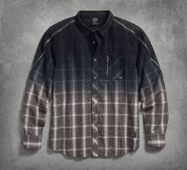 Men's Zipper Accent Plaid Shirt 96595-17VM