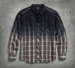 Men's Zipper Accent Plaid Shirt 96595-17VM