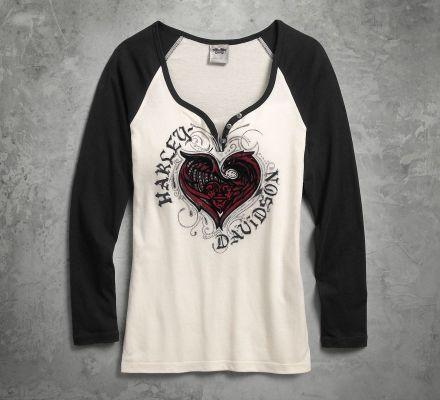 Harley-Davidson® Women's Stylized Heart Raglan Tee 96060-17VW
