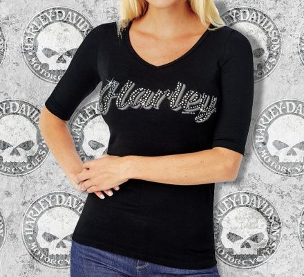 Harley-Davidson® Women's Rich Shine Tee T-shirt Top, RK Stratman Inc. R001740