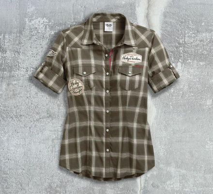 Harley-Davidson® Women's Multi-Patch Plaid Shirt 96077-17VW