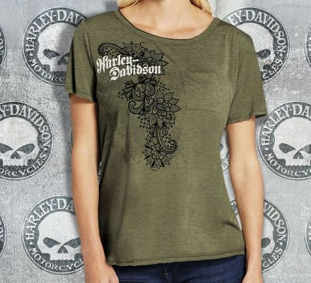 Harley-Davidson® Women's Interlace with Raw Pocket Tee Top T-shirt, RK Stratman Inc. R001880
