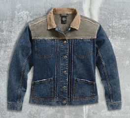Women's Leather & Denim Trucker Jacket