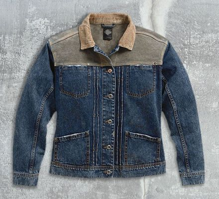 Harley-Davidson® Women's Leather & Denim Trucker Jacket 97416-17VW