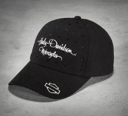 Women's Black Rhinestone Cap