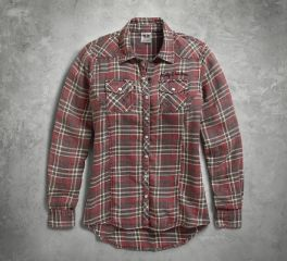 Harley-Davidson® Women's Acid Washed Plaid Shirt 96069-17VW
