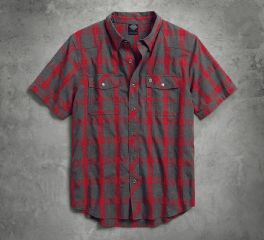 Harley-Davidson® Men's Heathered Plaid Slim Fit Shirt 99037-17VM