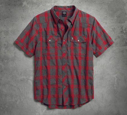Harley-Davidson® Men's Heathered Plaid Slim Fit Shirt 99037-17VM