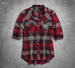 Women's Roll-Tab Sleeve Plaid Slim Fit Shirt
