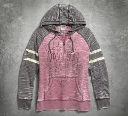 Women's Burnout Sleeve Stripe Hoodie