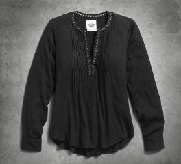 Women's Grommet Neckline Crepe Shirt