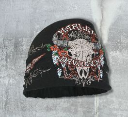 Harley-Davidson® Women's Studded Steer Skull Headband Scrunchie, Global Products, Inc. HE20430