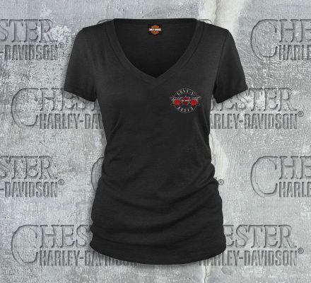 Harley-Davidson® Women's Guns N' Roses Bullet V-Neck Short Sleeve Tee Top T-Shirt, Bravado International Group, Inc. 30298580