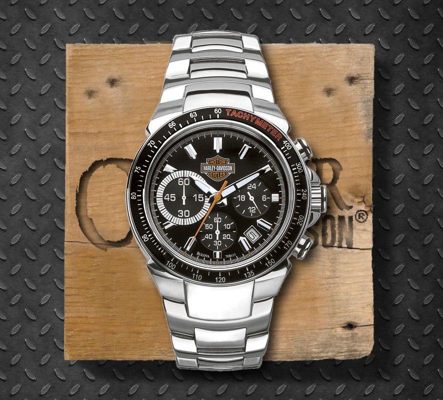 48d10a559b5 Harley-Davidson® Men's Stainless Steel Black Dial Chronograph Watch, Bulova  UK Ltd.