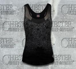 Women's Angela B&S Mesh Insert Shimmer Black Sleeveless Tank, RK Stratman Inc. R002236