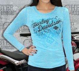 Harley-Davidson® Women's Elegant Scrolls Long Sleeve Top Tee, RK Stratman Inc. R001748