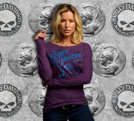 Harley-Davidson® Women's Eccentrically Chic Long Sleeve Top, VF Licensed Sports Group 5V32-HC68