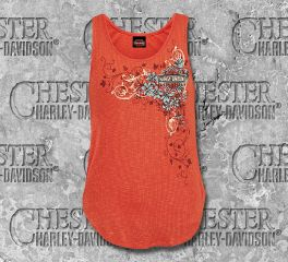Harley-Davidson® Women's Serenade B&S Curved Hem Orange Sleeveless Tank, RK Stratman Inc. R002485
