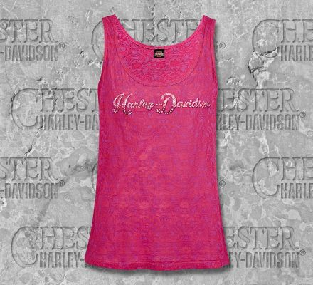 Harley-Davidson® Women's Berry Name Pink Sleeveless Tank with Rhinestones, RK Stratman Inc. R002484