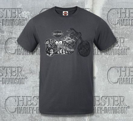 Harley-Davidson® Men's Grey Marker H-D Short Sleeve Pocket Tee, RK Stratman Inc. R002407