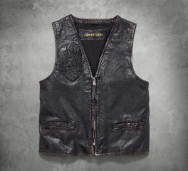Harley-Davidson® Men's Iron Distressed Slim Fit Leather Vest 98009-18VM