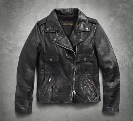 Harley-Davidson® Women's Wild Distressed Leather Biker Jacket 98017-18VW