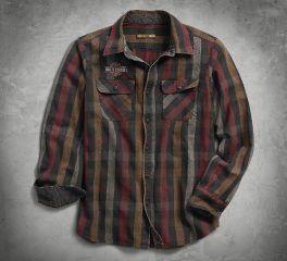 Harley-Davidson® Men's Logo Over-Dyed Plaid Slim Fit Shirt 99012-18VM