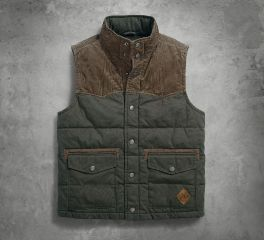 Mens Slim Fit Canvas & Corduroy Green Vest 97447-18VM