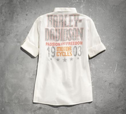 Harley-Davidson® Women's Passion Freedom Off White Short Sleeve Shirt 96131-14VW